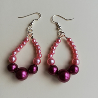 Pink and maroon pearls earrings