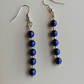 Blue pearls with silver seed beads earrings