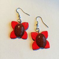 Red petal earrings with semi-precious goldstone cabochon