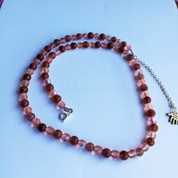 Semi-precious strawberry quartz necklace