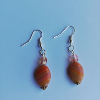 SALE! REDUCED! Orange stone and pink beads earrings