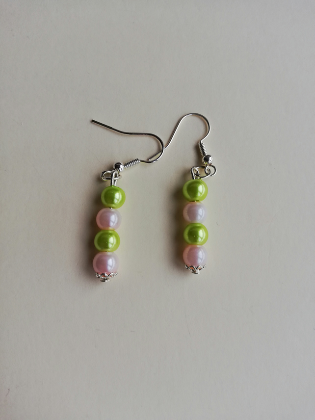 Lime green and pale pink pearl earrings