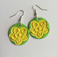 Yellow flowers on green background earrings