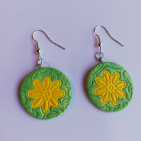 Bright yellow flowers on a lime green circle, earrings for pierced ears