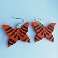 butterfly earrings in tiger colours