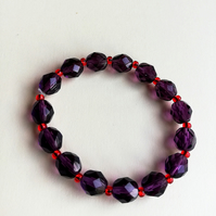 Dark heather faceted and ruby rocaille Swarovski bead bracelet