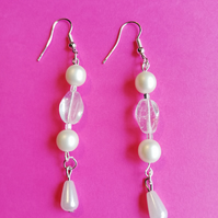 Pearl and crystal bead earrings