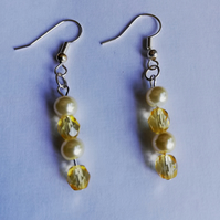Daffodil yellow and cream pearl earrings