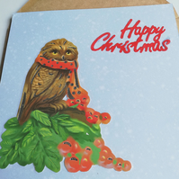 Blank Christmas card showing xmas owl