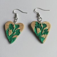 Fern motif heart shaped earrings