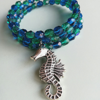 Memory wire bracelet with seahorse charm
