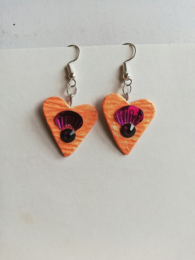 Orange hearts with pink shell and red gem earrings