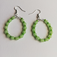 Semi-precious agate and rocaille earrings