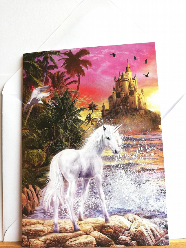 Blank card showing unicorn with water splash