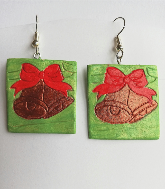 Copper bells with red ribbon earrings