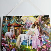 Unicorn birthday card with castle