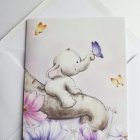 Elephant with butterfly blank card
