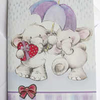 two elephants in the rain card