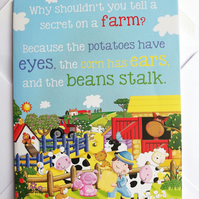 Farm yard funny birthday card