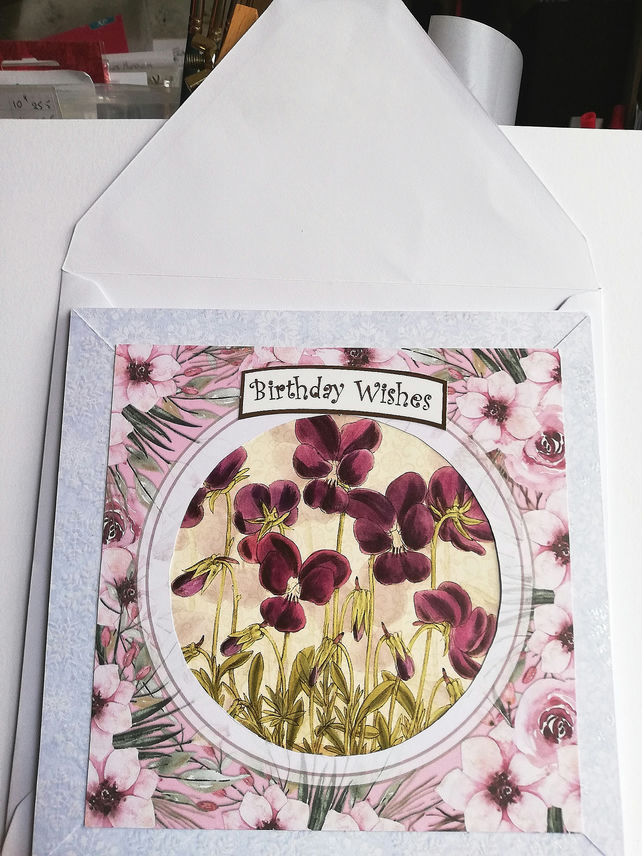 Birthday card showing violets