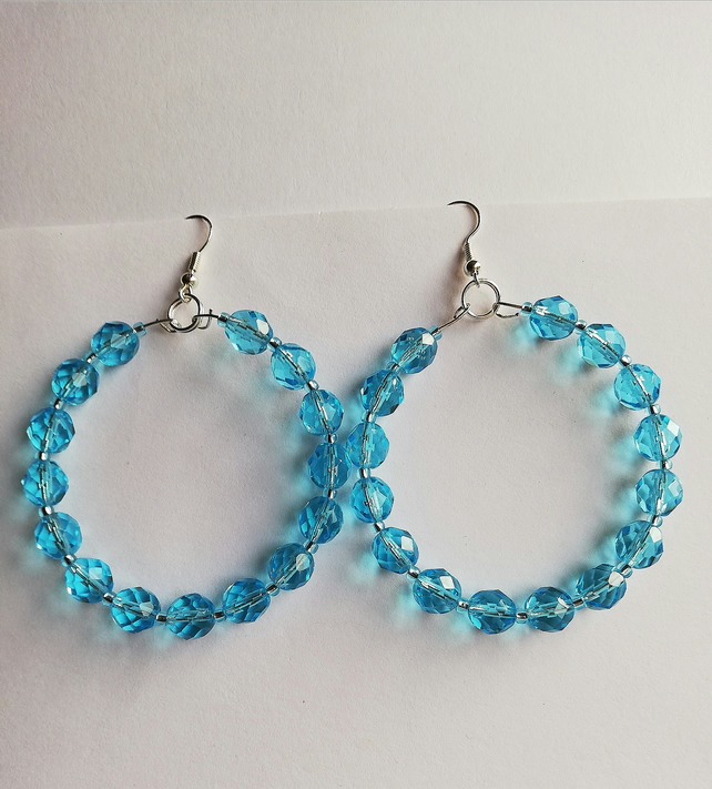 Aquamarine faceted and seed bead earrings