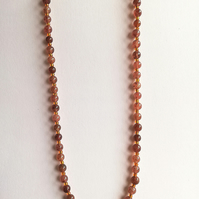 Semi-precious strawberry quartz and gold seed beads necklace