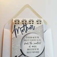 Special occasion card for mum 'detective'
