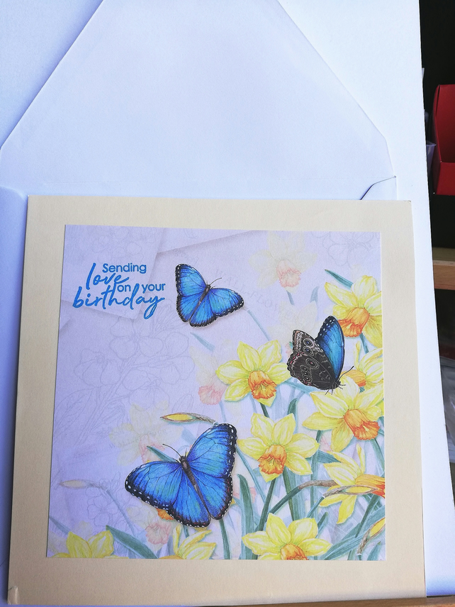 Birthday card showing butterflies and daffodils