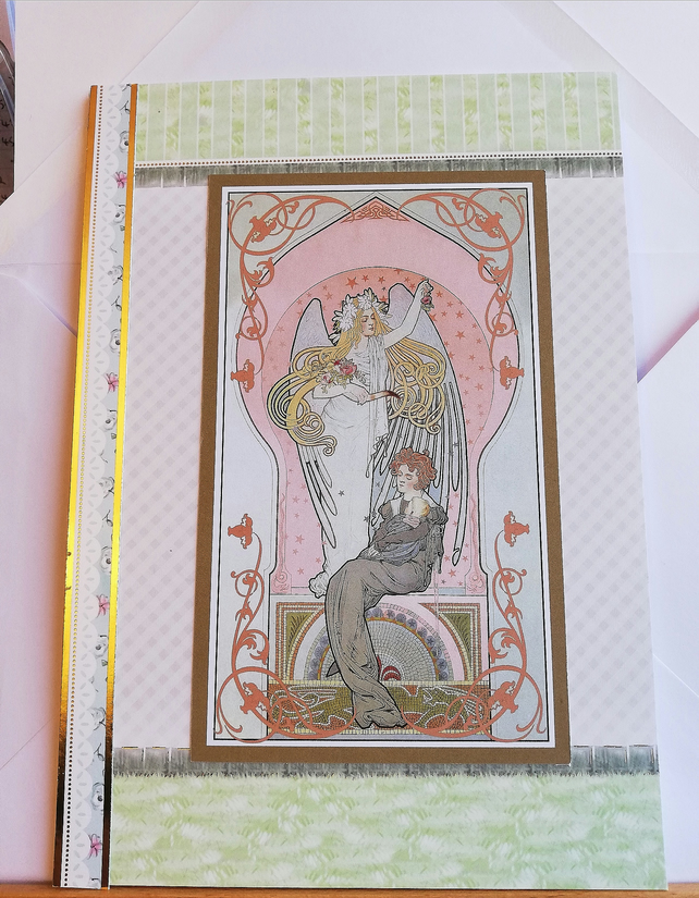 Art nouveau style card with illustration of angel with lady and baby