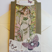 art nouveau style celebration four fold card