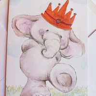 Elephant with crown blank card