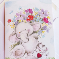 Elephant and kitty card