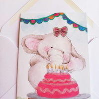 Elephant and birthday cake card