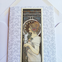 Art nouveau style birthday card, lady with feather