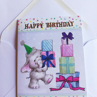 Cute elephant birthday card showing lots of presents