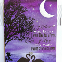 Blank card showing new moon and swans on the water