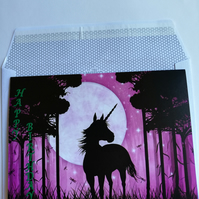 Horizontal fold birthday card showing unicorn