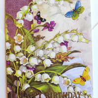 Lilly of the valley birthday card for May birthday