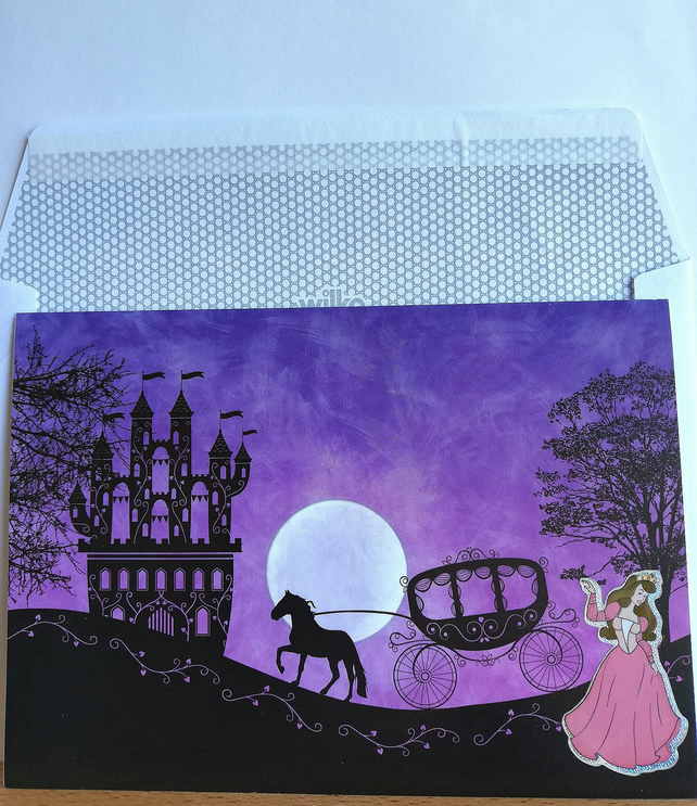 Horizontal fold fantasy card with castle, coach and princess