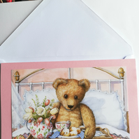 Teddy bear in bed, get well soon, card