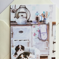 blank card showing pupples in the kitchen