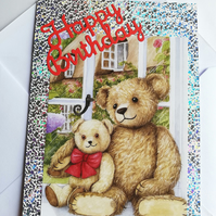 Mummy and child teddy bear birthday card