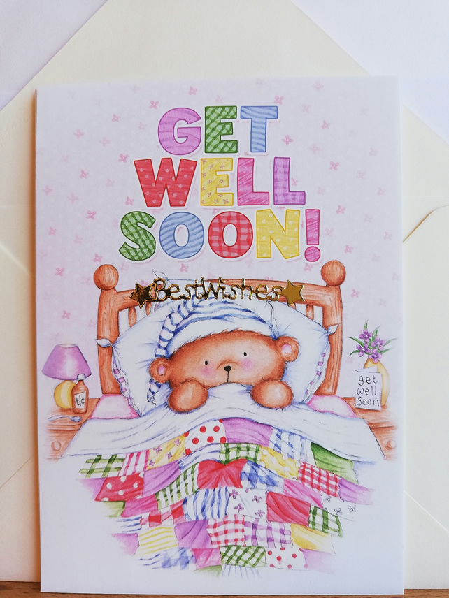 Cute elephant get well soon card