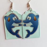 Fun blue dolphin earrings