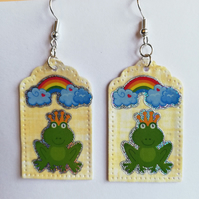 Happy frog and rainbow earrings