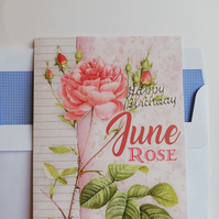 June rose birthday card
