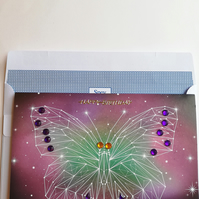 Large butterfly in constellations birthday card