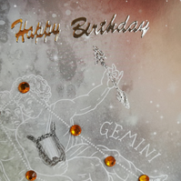 Gemini birthday card showing constelations