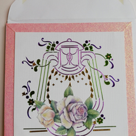 Lovely card showing lantern and flowers