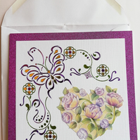 Lovely card showing stylised butterfly and roses